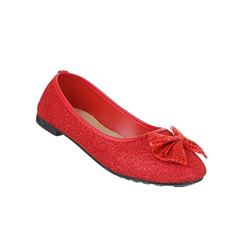 Damen Schuhe Ballerinas Pailetten Besetzte Pumps Rot