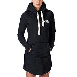 SMILODOX Longpullover Damen | Hoodie für Sport Fitness & Freizeit | Oversize Kapuzenpullover | Pullover - Sportpullover - Sweatshirt - Pulli - Langarmshirt Lang, Farbe:Schwarz, Größe:XS
