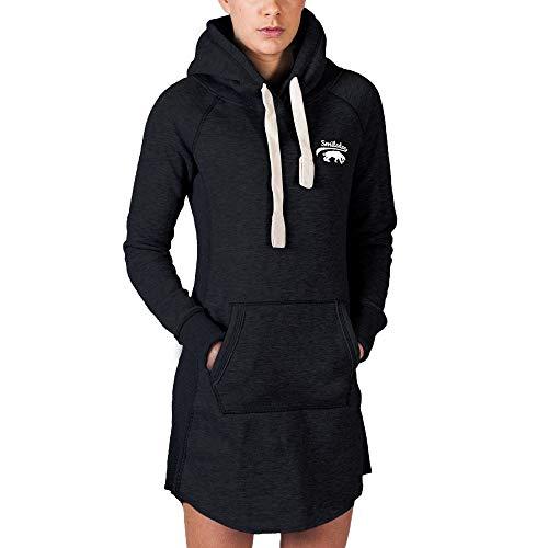 SMILODOX Longpullover Damen | Hoodie für Sport Fitness & Freizeit | Oversize Kapuzenpullover | Pullover - Sportpullover - Sweatshirt - Pulli - Langarmshirt Lang, Farbe:Schwarz, Größe:L