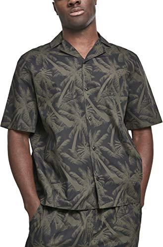 Urban Classics Herren Pattern Resort Shirt Freizeithemd, Mehrfarbig (Palm/Olive 01692), XXXXX-Large (Herstellergröße: 5XL) - T-shirt Classic Palmen