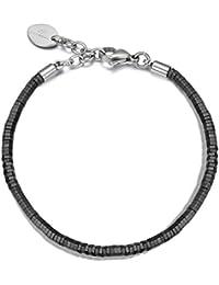 Italienisches Herren Armband aus Hematit Natur Steinen in schwarz. Luca Barra DBA905. Mit Edelstahl Verschluss, Länge anpassbar
