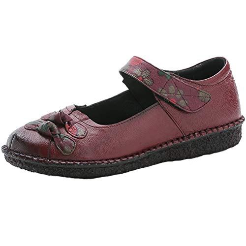 Mallimoda Damen Leder Mokassins Mary Jane Schuhe Weinlese Blume Klettverschluss Casual Slipper Flach Schuhe Lila EU 40=Asian 41 - Purple Jane Mary Schuhe