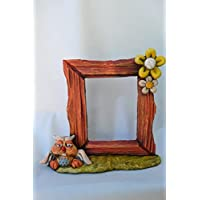 Marco fotos cerámica búho- flores.