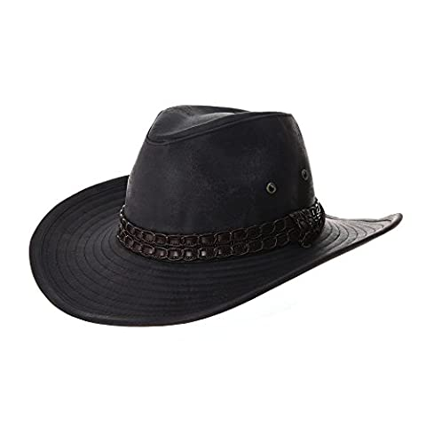 WITHMOONS Chapeau de Western Cowboy Indiana Jones Hat Weathered Faux Leather Outback Hat GN8749 (Black)