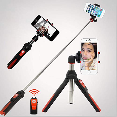4 in 1 Wireless Bluetooth Remote Extendable Selfie Stick MonoPod Mini Tripod Phone Stand Holder Mount per iPhone 8 Android Gopro Arancio