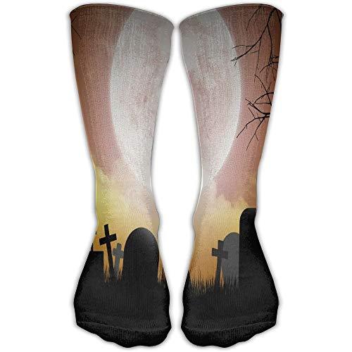 Bgejkos Pumpkins Moon Footage Comfortable Novelty Long Sock Crew Athletic Tube High Stockings Sport