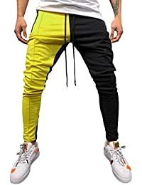 SOMESUN Moda Uomo Casuale Solido Sciolto Patchwork Colore Giuntura Hip Hop  Tasca Stringa Pantaloni Sportivi ba78feea9eeb
