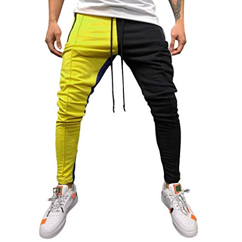 Tomatoa Herren Jogginghose | Trainingshose für Sport Fitness Gym Training Slim Fit Sweatpants Streifen Sweatpants Jogging-Hose Stripe Pants (L, Gelb B) (Hip Herren Trainingshose)