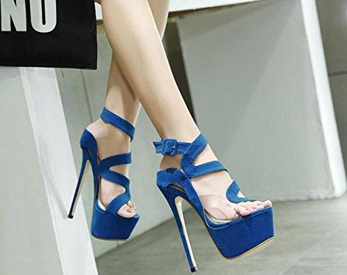 PBXP Plattform OL Pumps Peep-Toe Gürtelschnalle Stiletto High Heel Damen Mode Konzert Schuhe 34-40 Blue