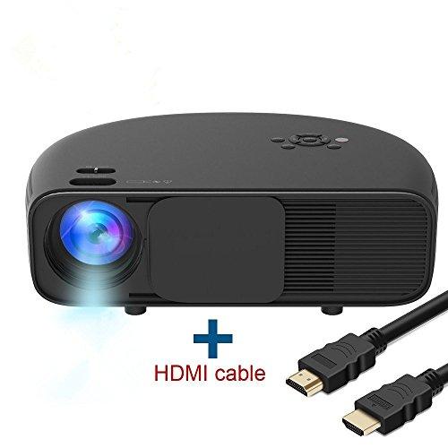 Full HD LCD Beamer, HuiHeng Video Projektor Unterstützung 720P 1080P Full HD mit HDMI USB VGA für Laptop Smartphone Ideal für Office Home Cinema Entertainment Games Party