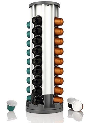miusco Nespresso Kapselhalter Kaffee Kapsel Rack Karussell, Nespresso Pod Halterung mit 40Pod Fassungsvermögen, 360Rotation, Aluminium (Laden, Speicher Top)