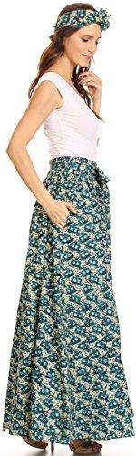 Sakkas Asma Convertible Traditionelle Wachsdruck verstellbaren Riemen Maxirock | Kleid 516-MintTurq