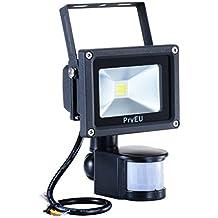 PryEU Faretto a LED per Esterno da 10W Proiettore Faro con PIR Sensore di Movimento per Esterno, Luce Bianca Fredda 6000K, Impermeabile IP65