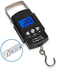 Fish Scale,Hanging Scale Portable Dial Scale LCD Digital Weight Electronic Scale 110lb/50kg with a Tape Measur