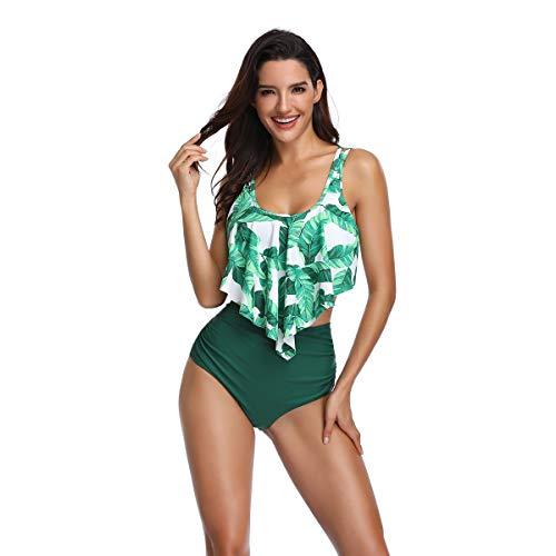 ZatRuiZE Damen Tankini High Waisted Neckholder Bademode Plus Size Badeanzug Hohe Taille Strand Badeanzüge Frau Zweiteiliges Bikini Set