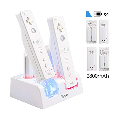 Insten 4-in-1-Batterie-Ladegerät für Wii, 4-Port Fernbedienung, Dockingstation mit 4 wiederaufladbaren Akkus (aktualisierte Version) und LED-Lichtanzeige für Nintendo Wii / Wii U Gamecontroller, Weiß (Nintendo Netzkabel Wii U)