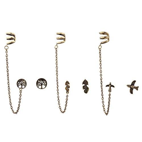 LUX accesorios Burnish oro Boho Ear Cuff multi Pendientes Set (Juego de)