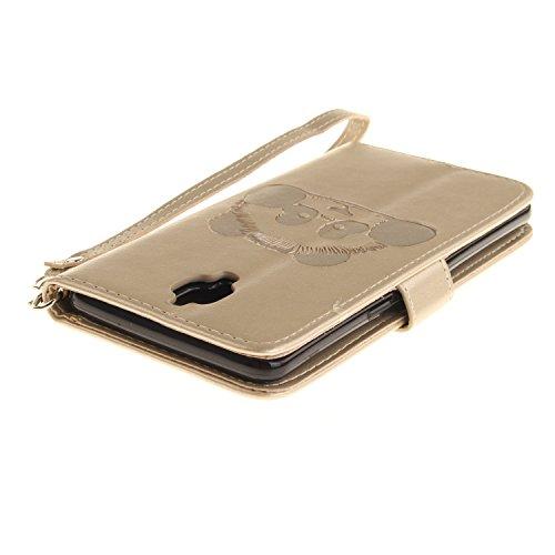 Coque pour iPhone 6 6S (4,7 Zoll),Housse en cuir pour iPhone 6 6S (4,7 Zoll),Ecoway Panda gaufrage en cuir PU Cuir Flip Magnétique Portefeuille Etui Housse de Protection Coque Étui Case Cover avec Sta d'or