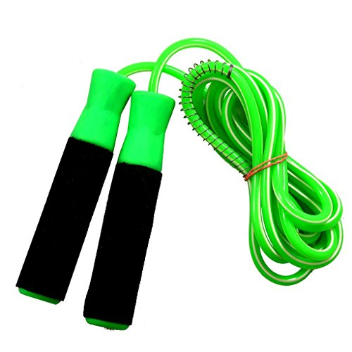 GOLD FITNESS PVC PLASTIC HANDLE WITH FOAM GRIP ROPE GREEN COLOUR WITH WHITE LINING SKIPPING FOR GYM EXERCISE  available at amazon for Rs.159