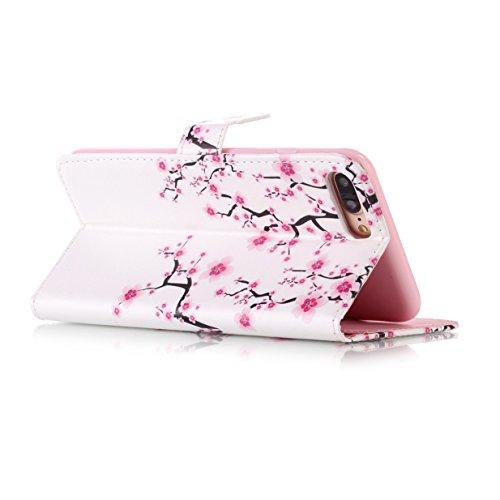 WYSTORE Apple iphone 7plus coque , PU cuir flip housse Étui Cover Case Wallet Stand avec Carte de Crédit Fentes pour ,Protection Anti Rayure Anti Choc Résistante Fashion - AMOUR prune fleur