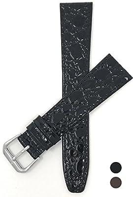 8mm - 20mm (Disponibile en Extra largo), Correa reloj de cuero auténtico, cocodrilo motivo, disponible en Negro y Marrón