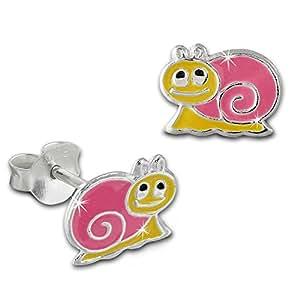 Teenie-Weenie Boucles d'oreilles - boucles d'oreilles escargot - argent sterling 925 pour enfants - SDO8135P