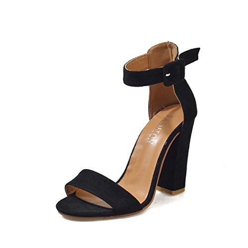 UFACE Mit Einzelnen Schuhen Dick Ist Schnallen Sandelholze Schuhe An Frauen Schnalle Damen Ankle High Heels Sandalen Block Party Singel (38, Schwarz)