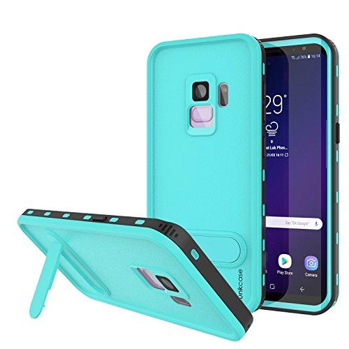 Punkcase Galaxy S9 Wasserdichte Schutzhülle [Kickstud Serie] [IP68 Zertifiziert] [Stoßfest] [Schneefest] Armor Schutzhülle mit integriertem Ständer + Displayschutzfolie für Samsung Galaxy S9 (Türkis) (Klar, Otter Box Case)