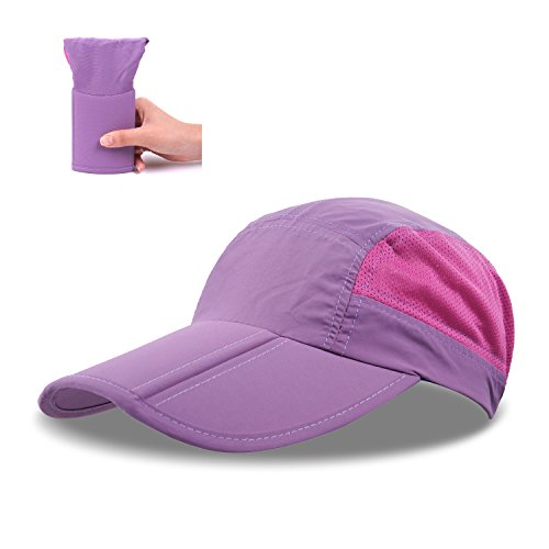 ZEARE Schnell Trocknende wasserdichte Breathable Hut-faltende Baseballmütze Sonnenhut-leichte Fernlastfahrer-Hut-Sport-Kappe Unisex (Violett)