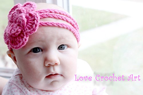 Love Crochet Art Crochet Baby Headband ( 6 to 9 months ) Pink  available at amazon for Rs.99
