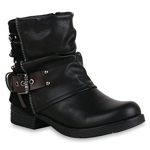 Damen Biker Boots Glitzer Stiefeletten Bikerstiefel Nieten Schuhe 155081 Schwarz 39 Flandell