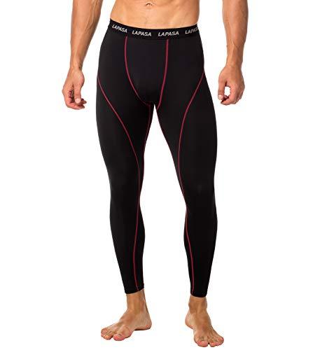 LAPASA Herren Fitness Leggings Kompressionshose Lang Tight Mesh UPF 50+ M18 (Schwarz+Rot(Base Layer), XL (Taille 101-106 cm))