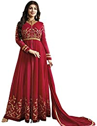 4Fashion Empire Women's Georgette Embroidered Red Anarkali Semi Stitched Salwar Suit (4FE_ER10475)