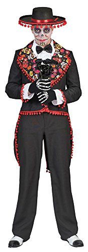 rina Halloween Skelett Herren Größe 56/58 Karneval Fasching Herrenkostüm Totenköpfe Pierro's (Catrina Make-up Halloween)