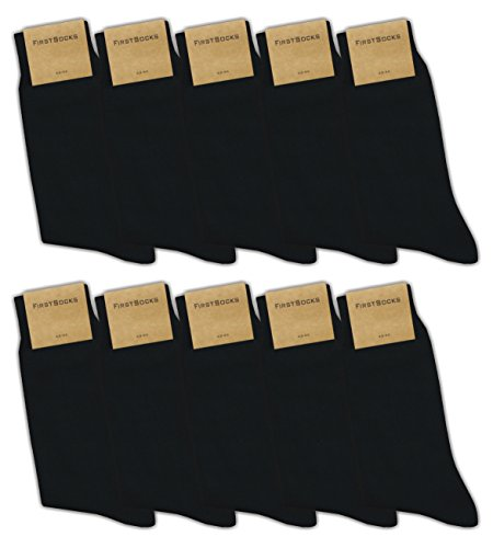FirstSocks: 10 Paar Herren-Socken, 100% Baumwolle, Oeko-Tex, Schwarz, Business | Größe 43 - 46