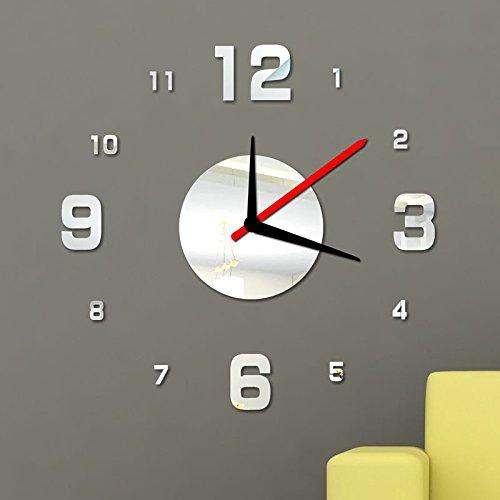 OGGID Reloj Vidrio Acrílico Moderno sin Marco Movimiento Silencioso, 3D DIY Reloj de Pared Adhesivo...