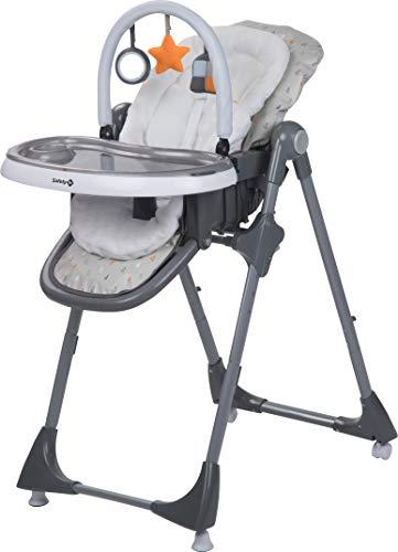 Safety 1st Hochstuhl Kiwi, 3-in-1 Hochstuhl, Rücken- und Fußlehne bis zur Liegeposition verstellbar, inkl. Tisch mit abnehmbarem Tablett und Spielbogen, warm grey