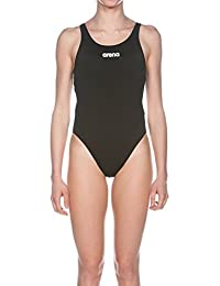 Arena Solid Swim Tech Costume da bagno, Donna, Nero/Bianco, 46