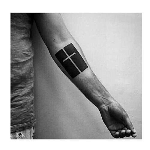 Tatuaggi temporanei croce cristiana avambraccio, per uomo e donna, tatuaggio temporaneo, anteriore braccio/polso/gamba/polpaccio/nuca, 10,5 x 6 cm