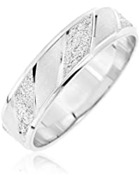Kareco Frosted Diamond Cut 9 ct White Gold 5 mm Band Ring