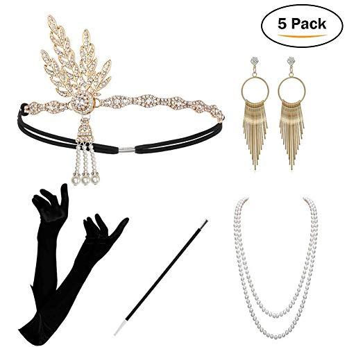 KQueenStar Damen Accessoires Set Halskette Handschuhe Zigarettenhalter Stirnband 20er Jahre 1920s Charleston Gatsby Retro Stil Kostüm Ball (Gold Set)