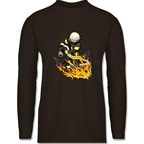 Feuerwehr - Cooler Feuerwehrmann - Longsleeve / langärmeliges T-Shirt für Herren Braun