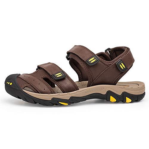 Ox Für Männer Leder Outdoor Klettverschluss Eu Wasser Slip On Kollision Style Sandalen ToecolorDunkelbraunGröße Shennanji Anti 42 Schuhe D29EHI