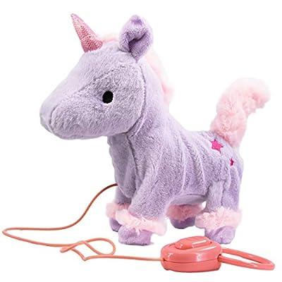 Fluffy Plush Walking & Talking Dog or Unicorn Toy Electronic Pet with Sounds