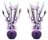 Passende Paar Lila Pflaume Künstliche Blumen Mit Violett Vase, Deko, Wohnaccessoires & Deko Geeignet für Bad, Schlafzimmer Oder Küche Fenster / Regal, 32cm