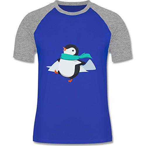 Wildnis - Happy Pinguin - zweifarbiges Baseballshirt für Männer Royalblau/Grau meliert