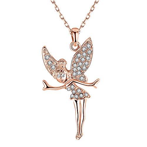 Mianova Damen Halskette Kette mit Swarovski Elements Glitzer Kristall Elfen Engel Anhänger im Schmucketui Rosegold