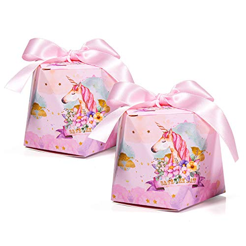 Mooklin 30pz unicorno scatolina portaconfetti di carta, bomboniere regalo decorazioni con 30pz nastro rosa per matrimoni comunioni battesimi festa compleanno - s