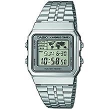 Reloj cuarzo Casio Para Unisex Con  Gris Digital Y Plata acero inoxidable A500WEA-7EF