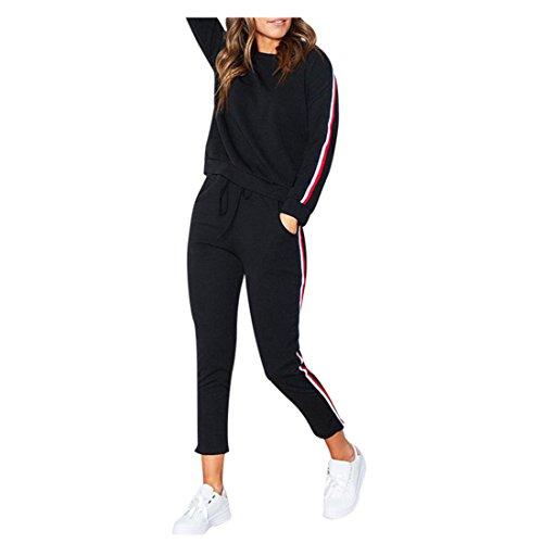 FORH Sportbekleidung Set Damen Einfachheit Langarm Sweatshirt Casual Hoodies Trainingsanzug und bequem Jogging Hosen Gym Sporthose 2 Stück Outfits (S, Schwarz)
